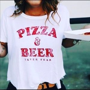 Pizza and Beer Never Fear T-Shirt Chillionaire sm